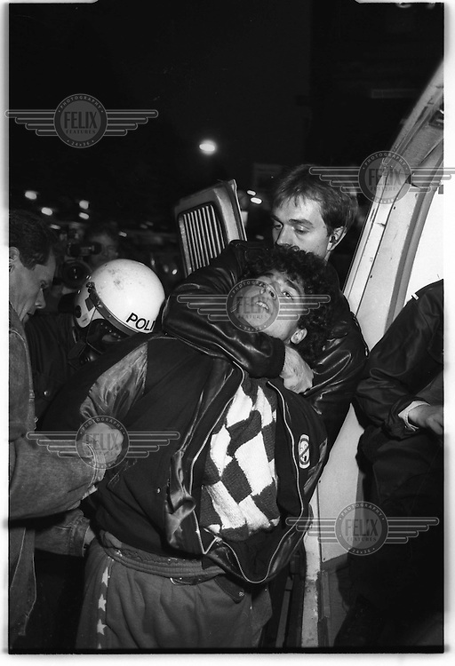 """Youth from the """"Blitz-house"""", an occupied house, protest and clash with police. Oslo, Norway 1988"""