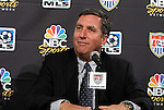 10 August 2011: President of NBC Sports Jon Miller. MLS and NBC held a press conference at Lincoln Financial Field in Philadelphia, Pennsylvania announcing a three year broadcast deal involving MLS and U.S. Men's National Team games to be shown on NBC and NBC Sports Network (currently Versus) from 2012 to 2014.