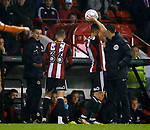 David Brooks of Sheffield Utd with damaged boot during the Championship match at the Bramall Lane Stadium, Sheffield. Picture date 27th September 2017. Picture credit should read: Simon Bellis/Sportimage
