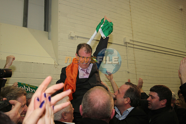 Peadar Tóibín celebrating at the 2011 Meath West Count in Trim GAA Grounds..(Photo credit should read Jenny Matthews/www.newsfile.ie)....This Picture has been sent you under the conditions enclosed by:.Newsfile Ltd..The Studio,.Millmount Abbey,.Drogheda,.Co Meath..Ireland..Tel: +353(0)41-9871240.Fax: +353(0)41-9871260.GSM: +353(0)86-2500958.email: pictures@newsfile.ie.www.newsfile.ie.