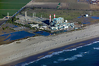 aerial photograph of the Ormand Beach Power Plant natural gas fired electrical generating station, Oxnard, Ventura County, California