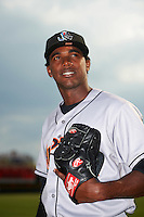 Jupiter Hammerheads pitcher Jose Adames (28) poses for a photo before a game against the Lakeland Flying Tigers on April 14, 2016 at Henley Field in Lakeland, Florida.  Lakeland defeated Jupiter 5-0.  (Mike Janes/Four Seam Images)