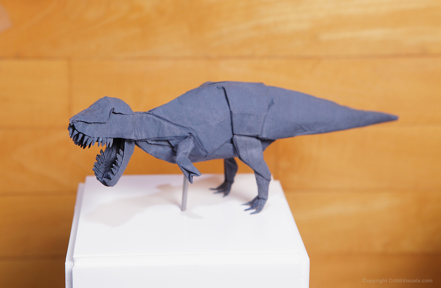 OrigamiUSA 2014 exhibition. Origami Tyrannosaurus designed by Seth Friedman