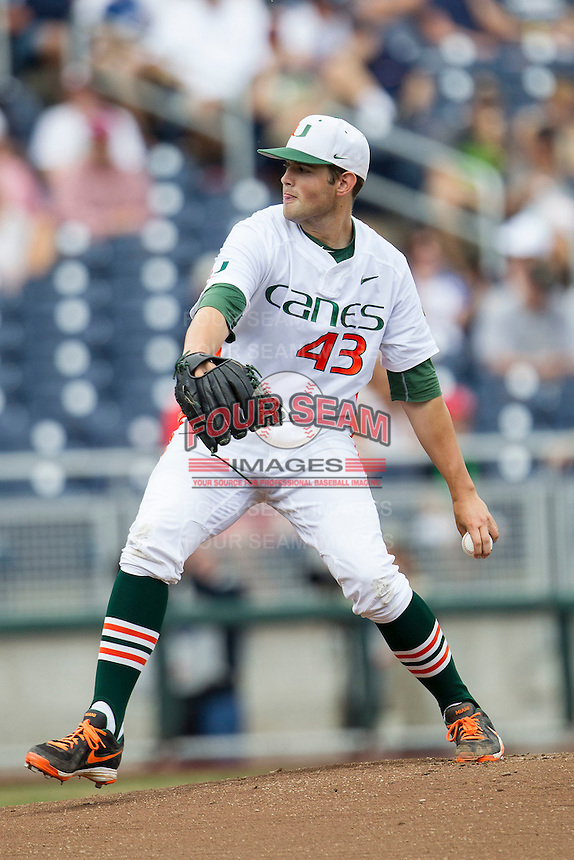 Miami Hurricanes starting pitcher Thomas Woodrey (43) delivers a pitch to the plate during the NCAA College baseball World Series against the Arkansas Razorbacks  on June 15, 2015 at TD Ameritrade Park in Omaha, Nebraska. Miami beat Arkansas 4-3. (Andrew Woolley/Four Seam Images)