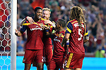 09 August 2014: Salt Lake's Chris Schuler (28) celebrates his goal with (from left) Nat Borchers, Joao Plata (ECU), and Kyle Beckerman. Real Salt Lake hosted DC United at Rio Tinto Stadium in Sandy, Utah in a 2014 Major League Soccer regular season game. Salt Lake won the game 3-0.
