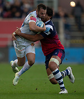 Exeter Chiefs' Phil Dollman is tackled by Bristol Bears' Steven Luatua<br /> <br /> Photographer Bob Bradford/CameraSport<br /> <br /> Gallagher Premiership Round 7 - Bristol Bears v Exeter Chiefs - Sunday 18th November 2018 - Ashton Gate - Bristol<br /> <br /> World Copyright &copy; 2018 CameraSport. All rights reserved. 43 Linden Ave. Countesthorpe. Leicester. England. LE8 5PG - Tel: +44 (0) 116 277 4147 - admin@camerasport.com - www.camerasport.com