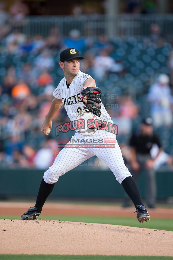 Charlotte Knights starting pitcher Jacob Turner (28) in action against the Lehigh Valley Iron Pigs at BB&T BallPark on June 3, 2016 in Charlotte, North Carolina.  The Iron Pigs defeated the Knights 6-4.  (Brian Westerholt/Four Seam Images)