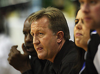 Saints coaching staff (from left) Kenny McFadden, Gordon McLeod and Sarah Molisa (obscured) during the National Basketball League match Wellington Saints and Harbour Heat at TSB Bank Arena, Wellington, New Zealand on Saturday 13 June 2009. Photo: Dave Lintott / lintottphoto.co.nz