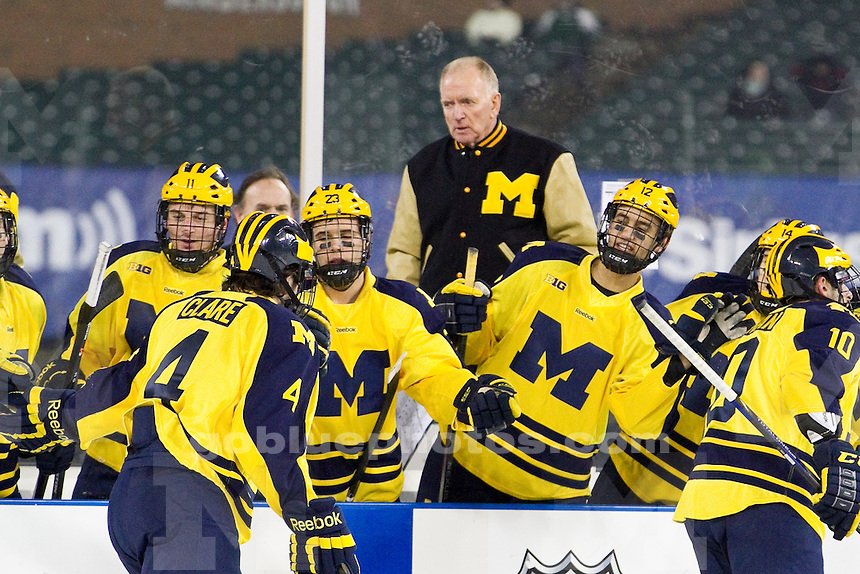 The University of Michigan ice hockey team falls to Western Michigan University, 3-2, in overtime at Comerica Park in Detroit, Mich. on December 27, 2013.