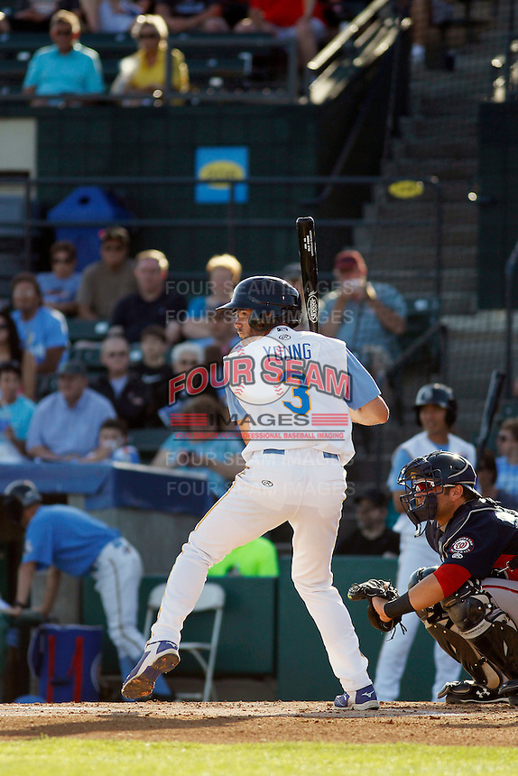 Myrtle Beach Pelicans infielder Chesny Young (3) at bat during a game against the Potomac Nationals at Ticketreturn.com Field at Pelicans Ballpark on May 24, 2015 in Myrtle Beach, South Carolina. Potomac defeated Myrtle Beach 1-0. (Robert Gurganus/Four Seam Images)