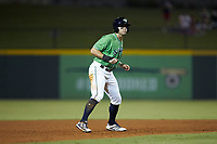 Ryan LaMarre (7) of the Gwinnett Stripers takes his lead off of second base against the Scranton/Wilkes-Barre RailRiders at BB&T BallPark on August 16, 2019 in Lawrenceville, Georgia. The Stripers defeated the RailRiders 5-2. (Brian Westerholt/Four Seam Images)