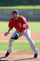 Jordan Walden #51 of the Los Angeles Angels participates in pitchers fielding practice during spring training workouts at the Angels complex on February 16, 2011  in Tempe, Arizona. .Photo by:  Bill Mitchell/Four Seam Images.