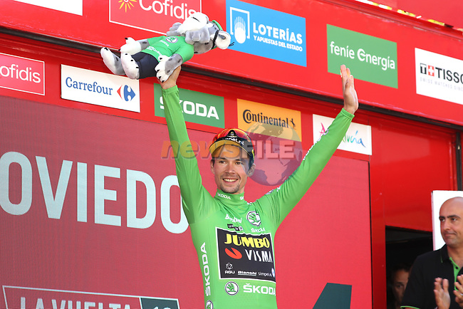 Race leader Primoz Roglic (SLO) Team Jumbo-Visma also retains the points Green Jersey at the end of Stage 14 of La Vuelta 2019  running 188km from San Vicente de la Barquera to Oviedo, Spain. 7th September 2019.<br /> Picture: Luis Angel Gomez/Photogomezsport | Cyclefile<br /> <br /> All photos usage must carry mandatory copyright credit (© Cyclefile | Luis Angel Gomez/Photogomezsport)