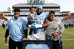 CHAPEL HILL, NC - NOVEMBER 18: UNC's Khaliel Rodgers was honored as part of Senior Day pregame activities. The University of North Carolina Tar Heels hosted the Western Carolina University Catamounts on November 18, 2017 at Kenan Memorial Stadium in Chapel Hill, NC in a Division I College Football game. UNC won the game 65-10.