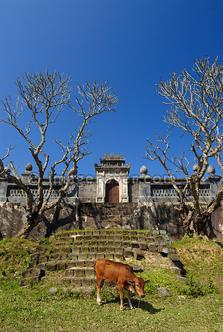 Asia, Vietnam, Hue. Royal tomb of Dong Khanh. Designated a UNESCO World Heritage Site in 1993, Hue is honoured for its complex of historic monuments. Seven royal tombs are scattered across the scenic countryside to the south of Hue. The smallest of all Nguyen tombs is the well-preserved mausoleum of Dong Khanh.