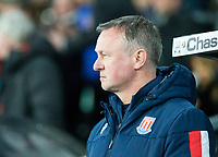 31st January 2020; Pride Park, Derby, East Midlands; English Championship Football, Derby County versus Stoke City; Stoke City Manager Michael O'Neill in the team dug out before the kick off  - Strictly Editorial Use Only. No use with unauthorized audio, video, data, fixture lists, club/league logos or 'live' services. Online in-match use limited to 120 images, no video emulation. No use in betting, games or single club/league/player publications
