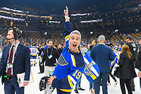 June 12, 2019: TV personality Andy Cohen celebrates on the ice at game 7 of the NHL Stanley Cup Finals between the St Louis Blues and the Boston Bruins held at TD Garden, in Boston, Mass.  The Saint Louis Blues defeat the Boston Bruins 4-1 in game 7 to win the 2019 Stanley Cup Championship.  Eric Canha/CSM.
