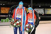 SCHAATSEN: UTRECHT: 01-01-2018, NK Marathonschaatsen, winnaars Irene en Simon Schouten, ©foto Martin de Jong
