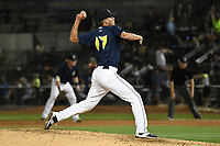 Pitcher Henry Taylor (17) of the Columbia Fireflies delivers a pitch in a game against the Lexington Legends on Friday, April 21, 2017, at Spirit Communications Park in Columbia, South Carolina. Columbia won, 5-0. (Tom Priddy/Four Seam Images)