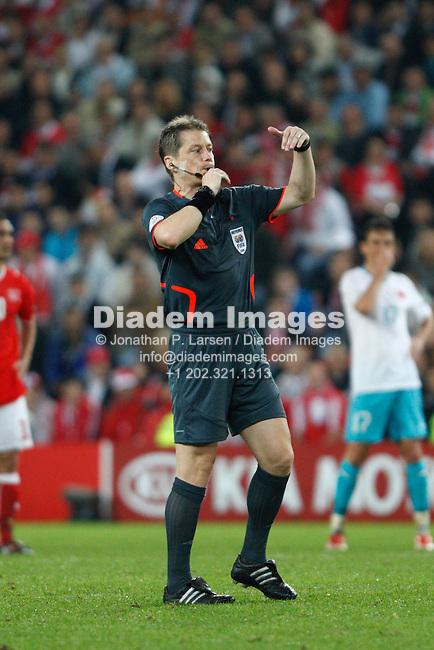 BASEL, SWITZERLAND - JUNE 11:  Referee Lubos Michel blows his whistle during a UEFA Euro 2008 Group A match between Switzerland and Turkey at St. Jakob Park June 11, 2008 in Basel, Switzerland.  (Photograph by Jonathan P. Larsen)