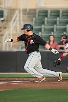 Alex Murphy (32) of the Delmarva Shorebirds follows through on his swing against the Kannapolis Intimidators at Kannapolis Intimidators Stadium on April 21, 2016 in Kannapolis, North Carolina.  The Intimidators defeated the Shorebirds 9-3.  (Brian Westerholt/Four Seam Images)