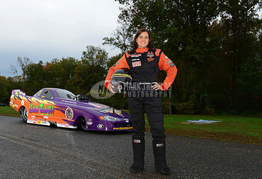 Oct. 7, 2012; Mohnton, PA, USA: NHRA top alcohol funny car driver Cassie Simonton during qualifying for the Auto Plus Nationals at Maple Grove Raceway. Mandatory Credit: Mark J. Rebilas-