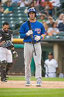 Mike Olt (20) of the Iowa Cubs at bat against the Salt Lake Bees in Pacific Coast League action at Smith's Ballpark on August 20, 2015 in Salt Lake City, Utah. The Cubs defeated the Bees 13-2. (Stephen Smith/Four Seam Images)