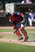 Salem Red Sox catcher David Sopilka (20) watches the baseball roll into foul territory during the game against the Winston-Salem Dash at BB&T Ballpark on April 17, 2016 in Winston-Salem, North Carolina.  The Red Sox defeated the Dash 3-1.  (Brian Westerholt/Four Seam Images)