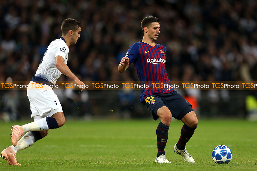 Clement Lenglet of FC Barcelona and Harry Winks of Tottenham Hotspur during Tottenham Hotspur vs FC Barcelona, UEFA Champions League Football at Wembley Stadium on 3rd October 2018