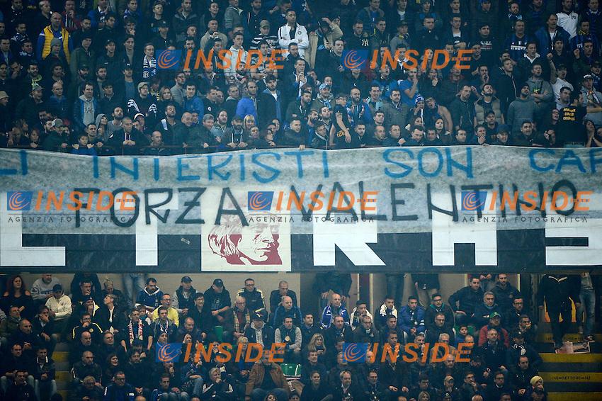 Striscione tifosi Inter per Valentino Rossi<br /> Milano 31-10-2015 Stadio Giuseppe Meazza - Football Calcio Serie A Inter - AS Roma. Foto Giuseppe Celeste / Insidefoto