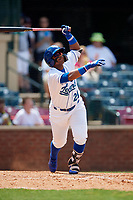 Lexington Legends designated hitter Dennicher Carrasco (21) follows through on a swing during a game against the Rome Braves on May 23, 2018 at Whitaker Bank Ballpark in Lexington, Kentucky.  Rome defeated Lexington 4-1.  (Mike Janes/Four Seam Images)