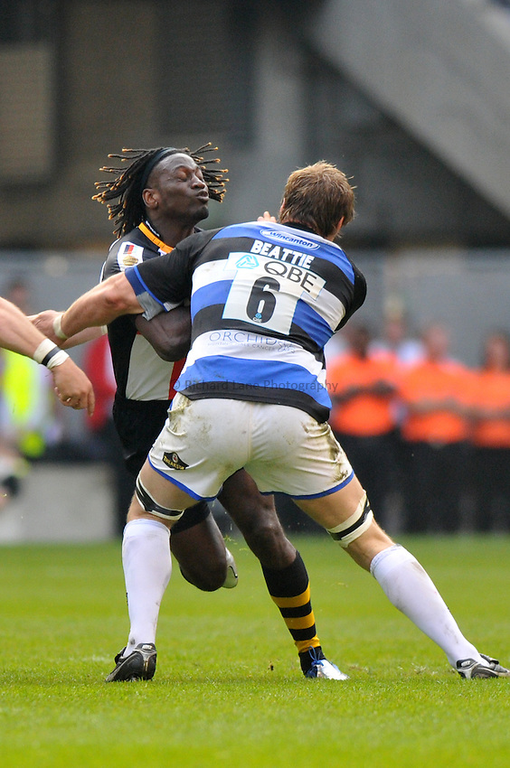 Photo: Tony Oudot/Richard Lane Photography. London Wasps v Bath Rugby. The St. George's Day Game. Guinness Premiership. 24/04/2010. .Paul Sackey of Wasps is challenged by Andy Beattie of Bath.