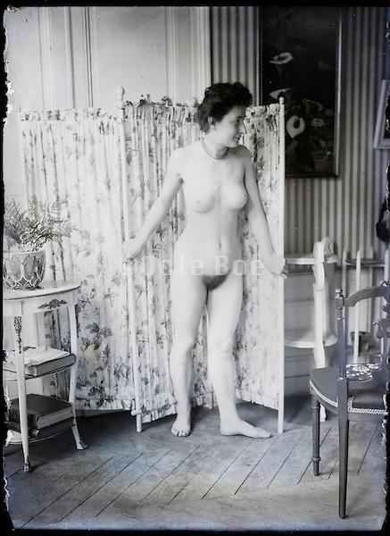 female artist model in studio Paris France around 1900