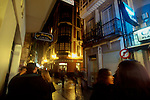 Spain, Coruna, Northern Spanish town, tapas bars spill out onto the old town streets in La Coruna, the Galacian region of Spain,  Europe,.