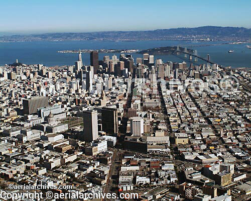 aerial photograph Market Street San Francisco skyline, California