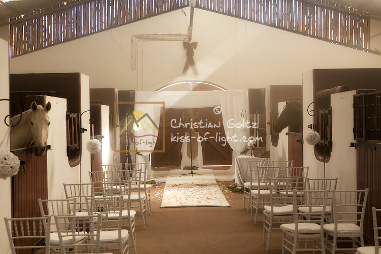 The Horse Stables at Midgard Country Estate have been prepared for a wedding.