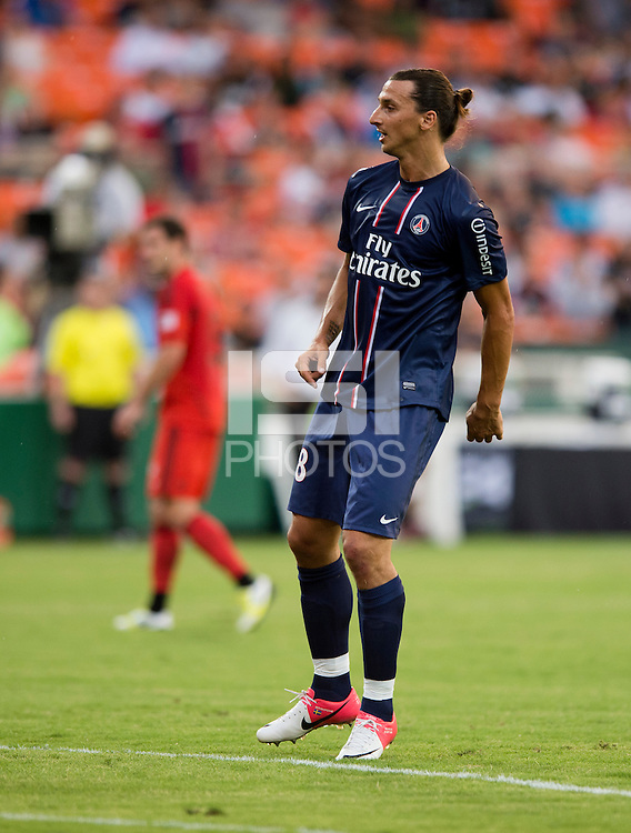 Zlatan Ibrahimovic (18) of Paris Saint-Germain FC looks for the result of his shot during the game at RFK Stadium in Washington, DC.  Paris Saint-Germain FC tied D.C. United, 1-1.