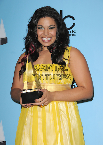 JORDIN SPARKS .The 2008 American Music Awards held at Nokia Theatre Live L.A. in Los Angeles, California, USA..November 23rd, 2008      .AMA AMAs pressroom half length yellow dress award trophy .CAP/DVS.©Debbie VanStory/Capital Pictures.