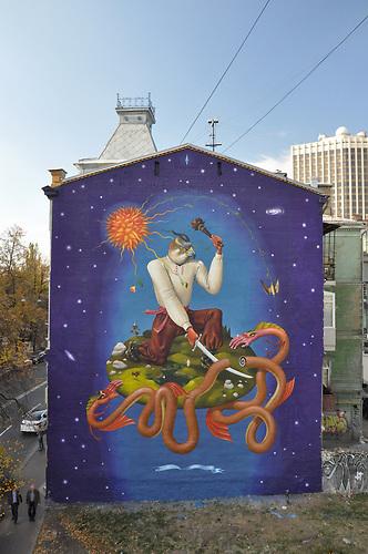Heiliger-Georg-Aec-Interesni-Kazk , In Kiew wird mit Wandmalerein versucht die schwierige Lage darzustellen und Hoffnung auf eine bessere Zukunft zu vermitteln.