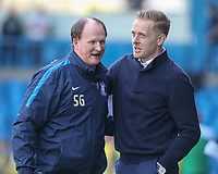 Leeds United manager Garry Monk greets Preston North End manager Simon Grayson <br /> <br /> Photographer Alex Dodd/CameraSport<br /> <br /> The EFL Sky Bet Championship - Leeds United v Preston North End - Saturday 8th April 2017 - Elland Road - Leeds<br /> <br /> World Copyright &copy; 2017 CameraSport. All rights reserved. 43 Linden Ave. Countesthorpe. Leicester. England. LE8 5PG - Tel: +44 (0) 116 277 4147 - admin@camerasport.com - www.camerasport.com