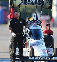 Sep 22, 2018; Madison, IL, USA; Crew members for NHRA top fuel driver Antron Brown during qualifying for the Midwest Nationals at Gateway Motorsports Park. Mandatory Credit: Mark J. Rebilas-USA TODAY Sports