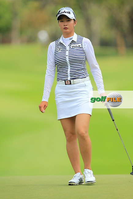 Chella Choi (KOR) on the 10th green during Round 1 of the Honda LPGA Thailand on Thursday 23rd February 2017.<br /> Picture:  Thos Caffrey / Golffile