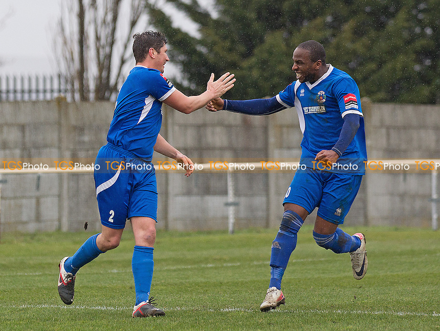 Leon Lalitte celebrates with goalscorer Craig Pope for Grays Athletic - Grays Athletic vs Maldon & Tiptree - Ryman League Division One North Football - 13/04/13 - MANDATORY CREDIT: Ray Lawrence/TGSPHOTO - Self billing applies where appropriate - 0845 094 6026 - contact@tgsphoto.co.uk - NO UNPAID USE.