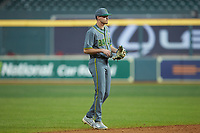 Baylor Bears shortstop Nick Loftin (2) on defense against the Arkansas Razorbacks in game nine of the 2020 Shriners Hospitals for Children College Classic at Minute Maid Park on March 1, 2020 in Houston, Texas. The Bears defeated the Razorbacks 3-2. (Brian Westerholt/Four Seam Images)