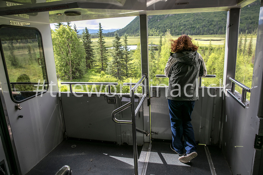 USA, Alaska, Denali National Park, passengers step outside the McKinley Explorer to take pictures of the picturesque scenery along the Alaska Railway from Denali to Anchorage