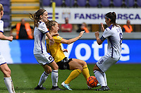 20190810 - ANDERLECHT, BELGIUM : Anderlecht's Sheryl Merchiers (left) and Anderlecht's Laura De Neve (r) pictured defending on LSK's Synne Sinnes Hansen (r) during the female soccer game between the Belgian RSCA Ladies – Royal Sporting Club Anderlecht Dames  and the Norwegian LSK Kvinner Fotballklubb ladies , the second game for both teams in the Uefa Womens Champions League Qualifying round in group 8 , saturday 10 th August 2019 at the Lotto Park Stadium in Anderlecht  , Belgium  .  PHOTO SPORTPIX.BE for NTB NO | DAVID CATRY