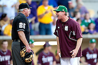 Mississippi State coach John Cohen argues with the umpire during the NCAA baseball game against the LSU Tigers on March 17, 2012 at Alex Box Stadium in Baton Rouge, Louisiana. The 10th-ranked LSU Tigers beat #21 Mississippi State, 4-3. (Andrew Woolley / Four Seam Images)