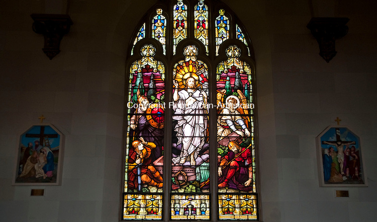 TORRINGTON, CT 29 MARCH 2013--032913JS01--Stained glass windows inside St. Paul's Church on East Main Street in Torrington, depicts The Resurrection of Jesus. .Jim Shannon Republican-American.
