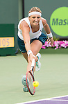 March 29 2016: Timea Bacsinszky (SUI) defeats Simone Halep (ROU) by 4-6, 6-3, 6-2, at the Miami Open being played at Crandon Park Tennis Center in Miami, Key Biscayne, Florida.