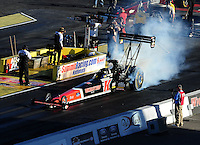 Apr. 1, 2011; Las Vegas, NV, USA: NHRA top fuel dragster driver David Grubnic during qualifying for the Summitracing.com Nationals at The Strip in Las Vegas. Mandatory Credit: Mark J. Rebilas-